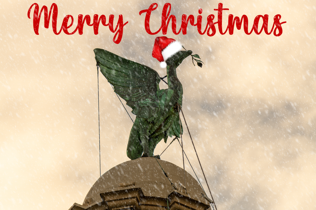 Snowy Liverpool Liver Bird with Christmas hat